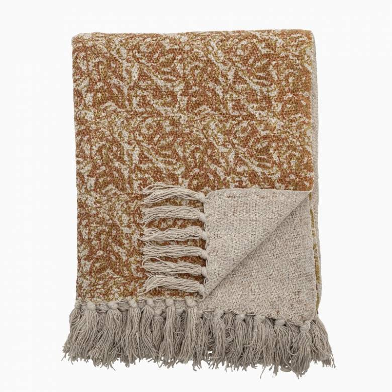 Orange & Brown Patterned Blanket Made From Recycled Cotton