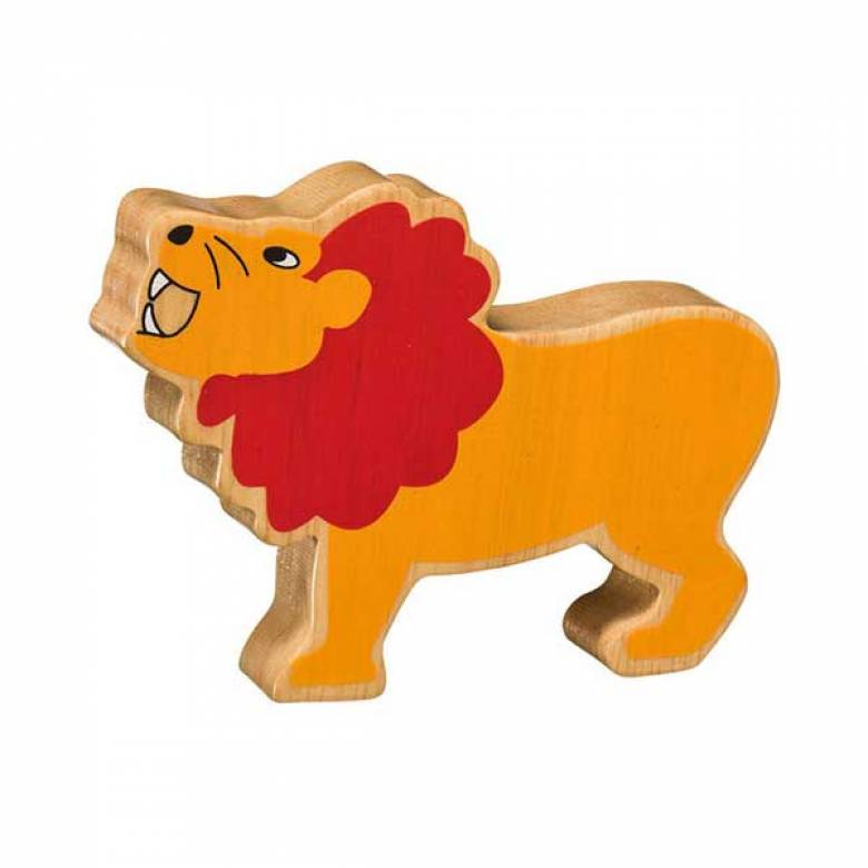 Orange Lion Wooden Painted Animal Fairtrade Lanka Kade