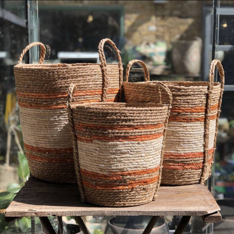 Small White & Orange Striped Natural Basket With Handles H:30cm