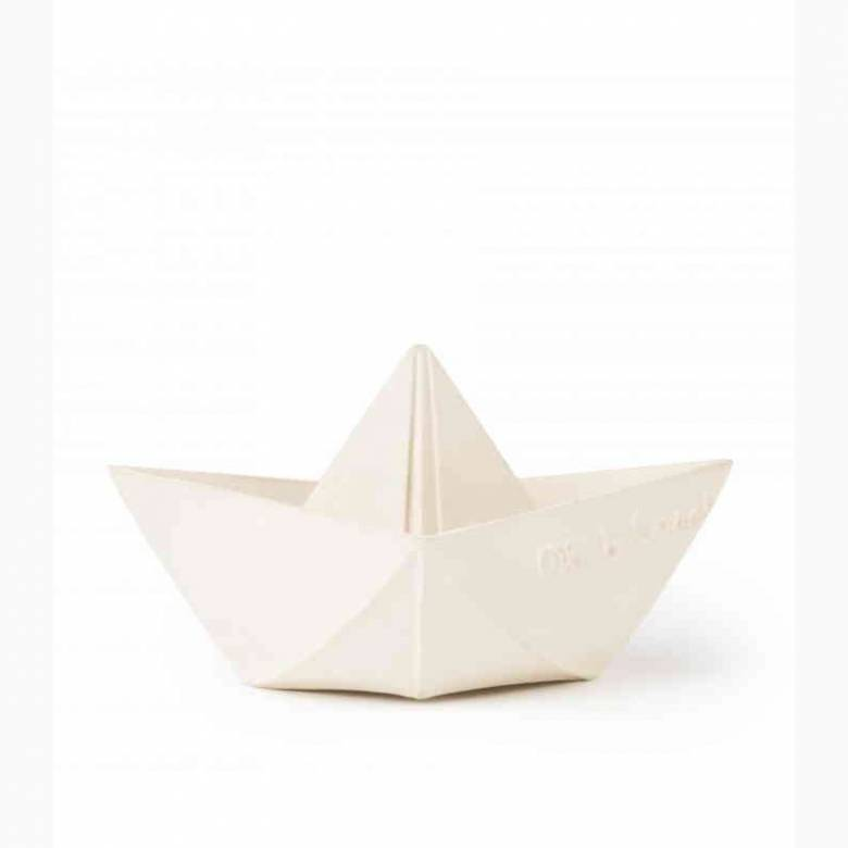 Origami Boat Natural Rubber Bath Toy In White 0+