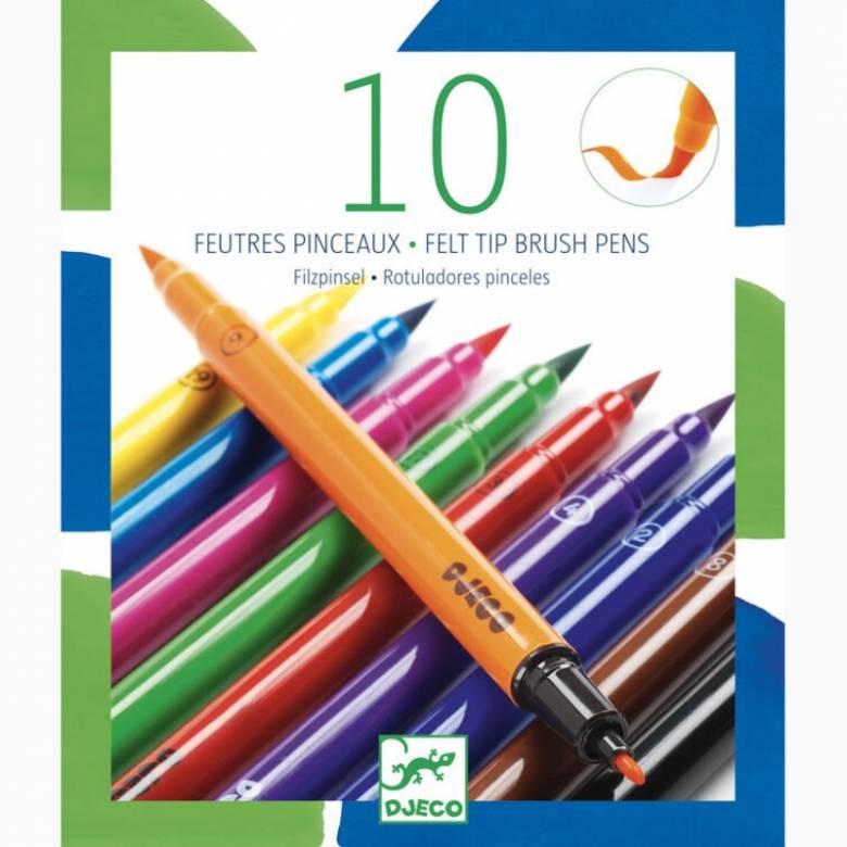 Pack Of 10 Felt Tip Pens  In Bold Colours
