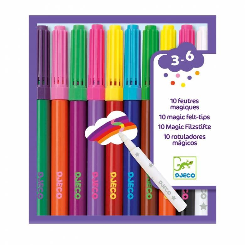Pack Of 10 Magic Felt-Tips By Djeco 3+