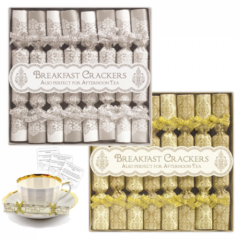 Pack Of 8 Mini Saucer Crackers Silver or Gold