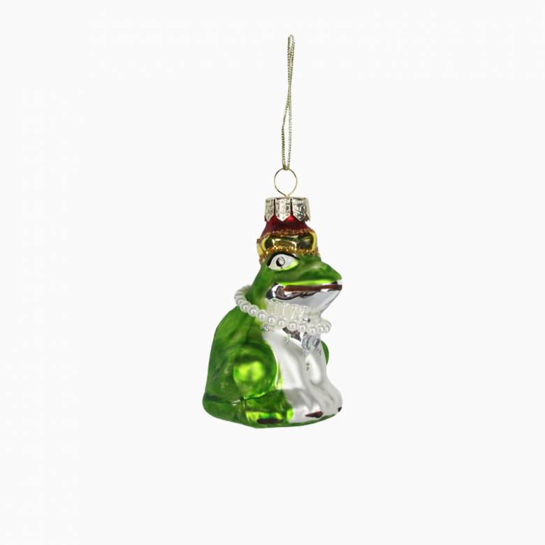 Painted Glass Frog Christmas Decoration