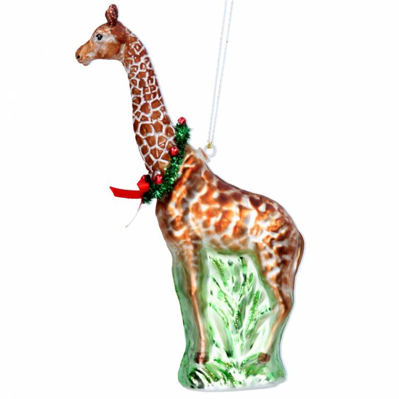 Painted Glass Giraffe Christmas Decoration