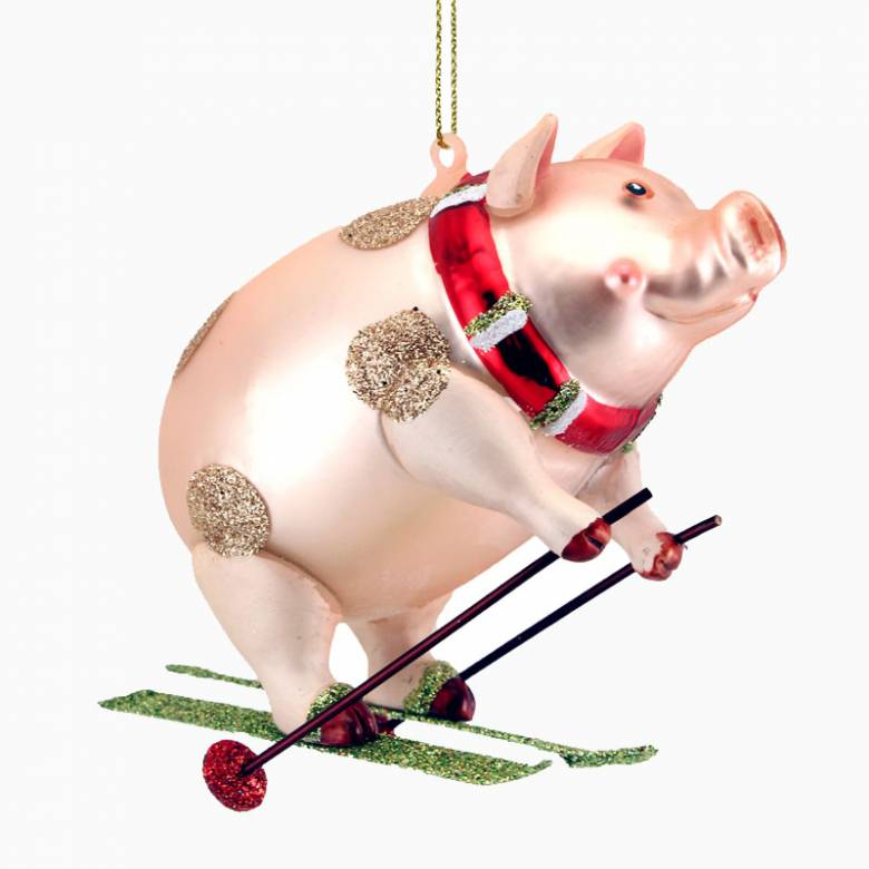 Painted Glass Pig On Skis Christmas Decoration
