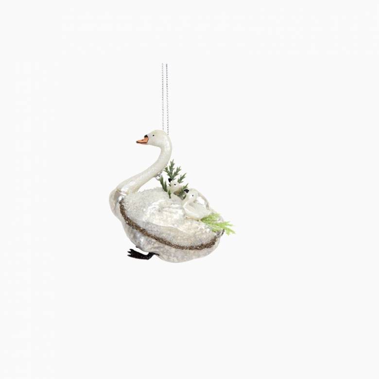 Painted Glass Swan Christmas Decoration By Gisela Graham
