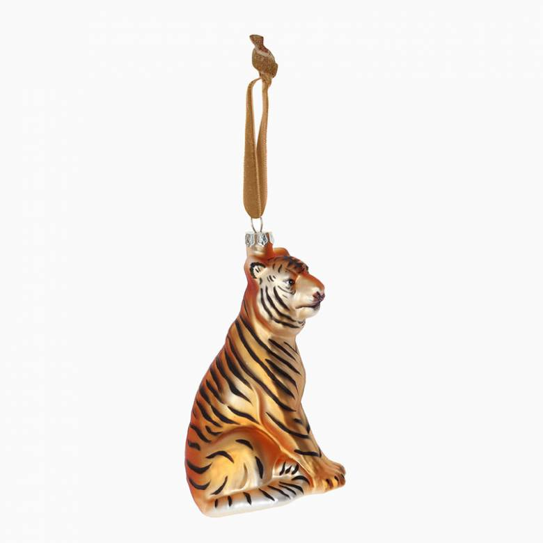 Painted Glass Tiger Christmas Decoration