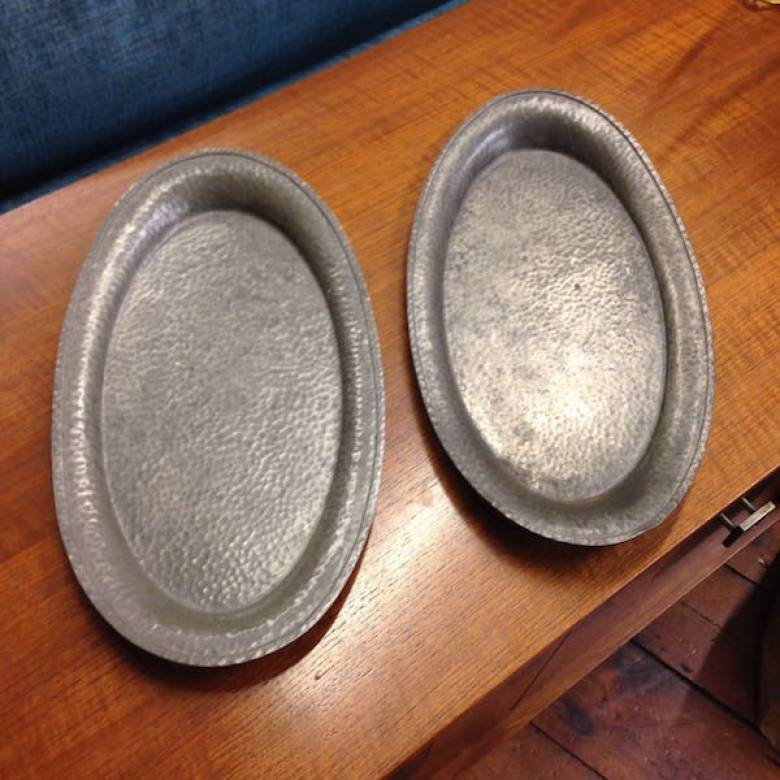 Pair Of Pewter Hand Hammered Oval Pewter Trays From Harrods