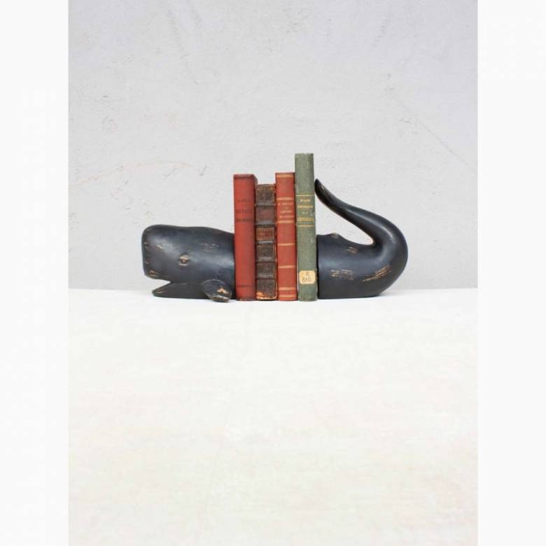 Pair Of Whale Bookends In Distressed Resin