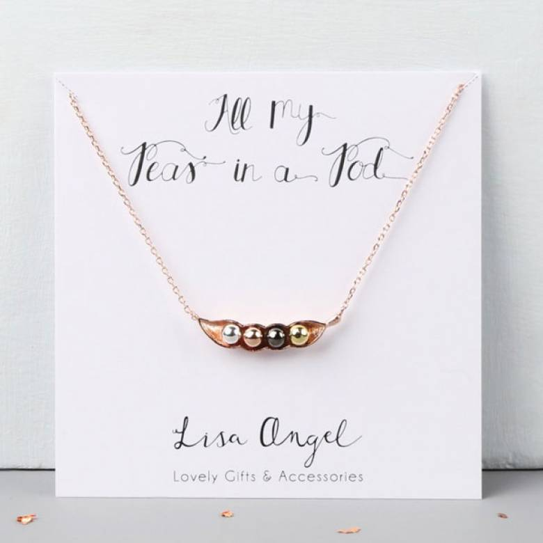 Four Peas In A Pod Rose Gold Necklace