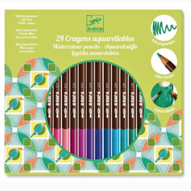 Watercolour Pencils Pack Of 24 Classic Artist Colours By Djeco
