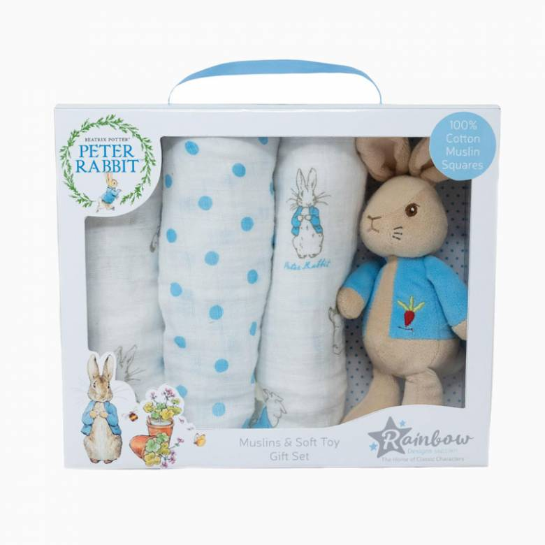 Peter Rabbit Soft Toy And Muslin Set