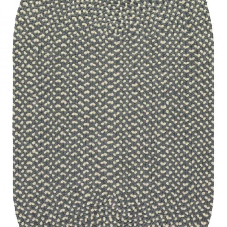 Pewter Oval Braided Rug Recycled Plastic 61x91cm