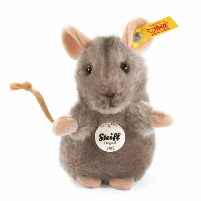 Piff Soft Toy Mouse Grey 10cm By Steiff