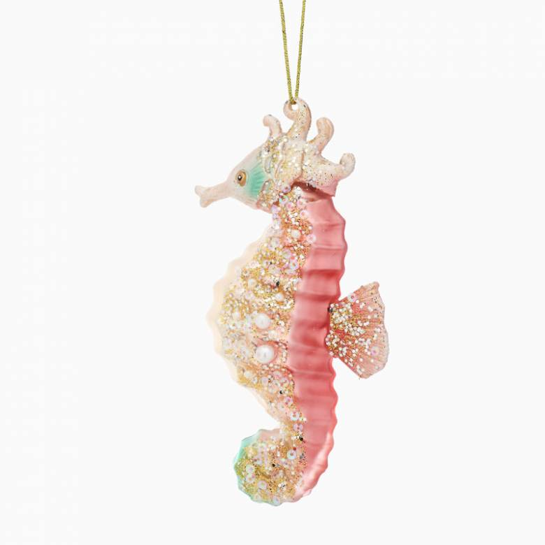 Pink Glass Seahorse Christmas Decoration