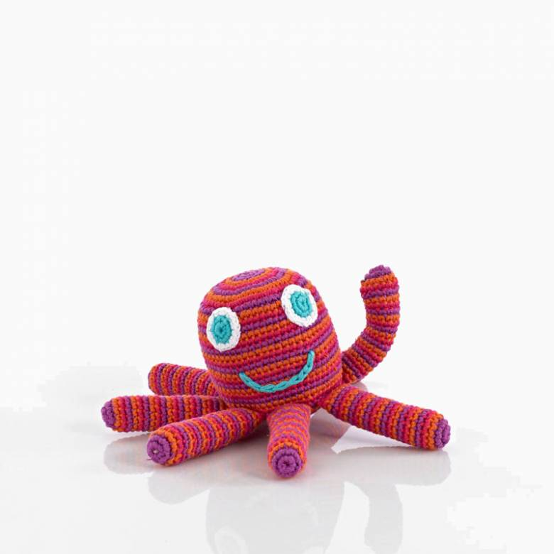 Crochet Octopus Rattle In Pink 0+