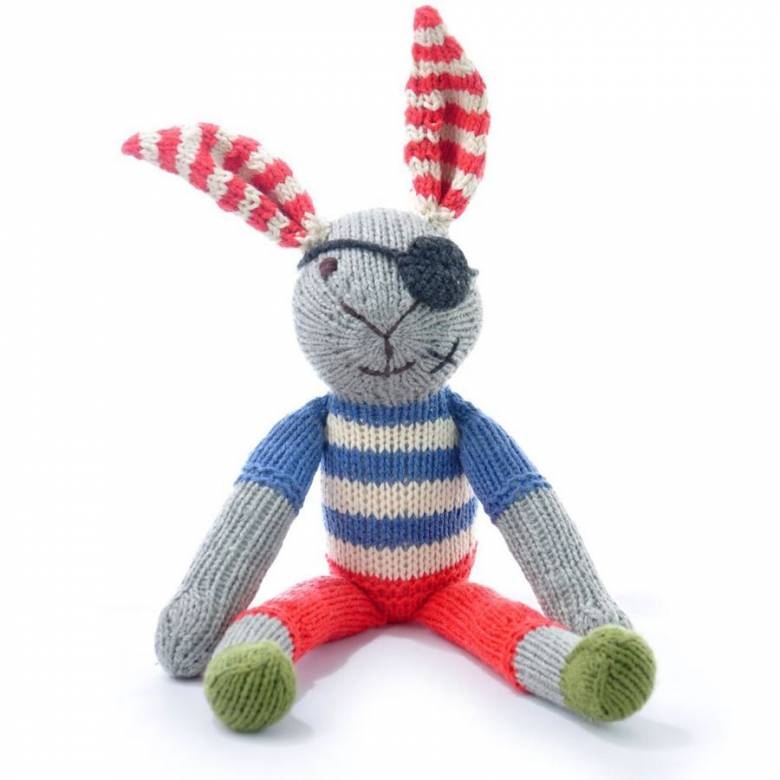 Pirate Rabbit Hand Knitted Soft Toy Organic Cotton