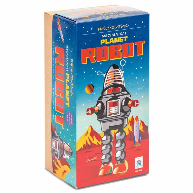 Planet Robot Tin Toy In Black Or Red 28cm