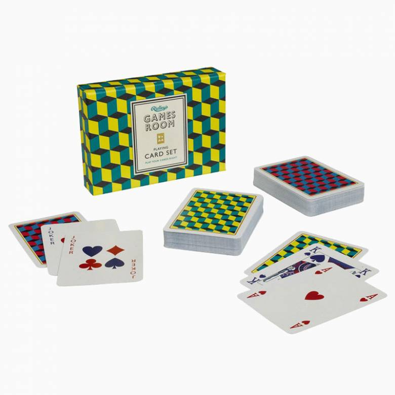 Playing Cards Set In Yellow And Green Box