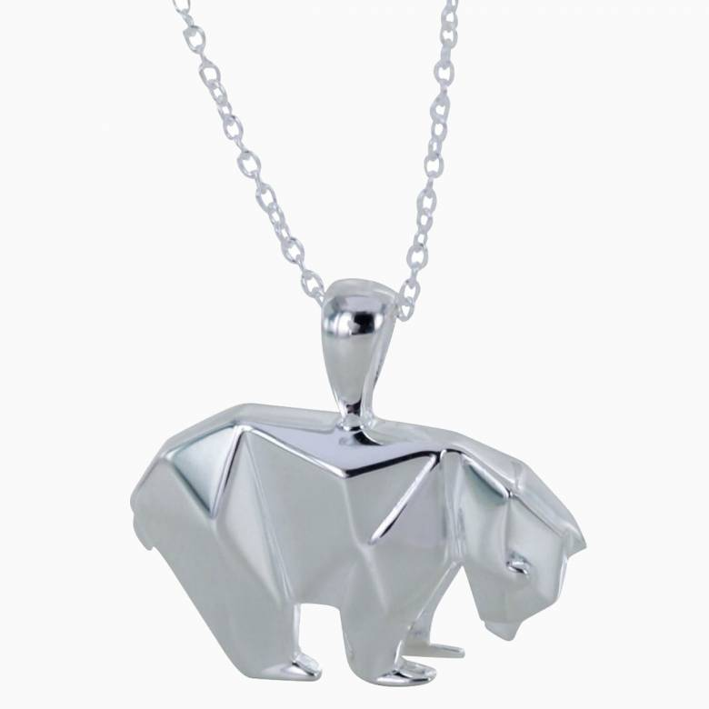 Polar Bear Origami Necklace - Sterling Silver
