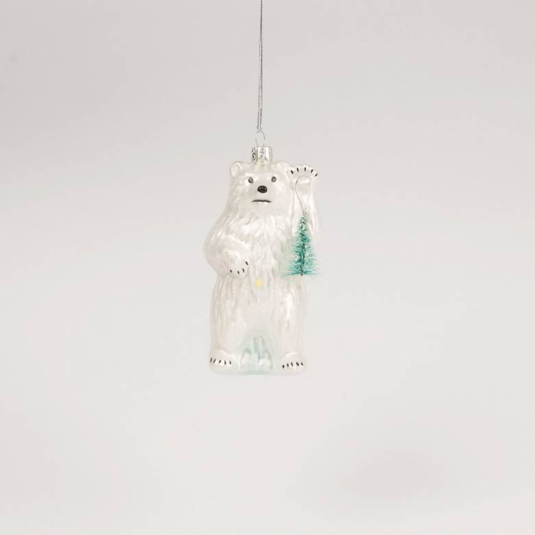 Glass Polar Bear With Tree Christmas Decoration