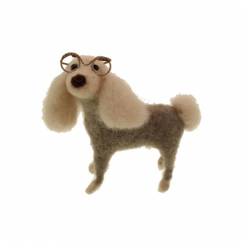 Poodle Dog With Glasses Felt Hanging Christmas Decoration