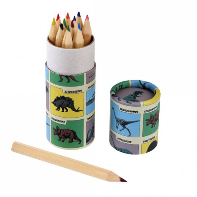 Set Of 12 Prehistoric Land Mini Colouring Pencils In Tube