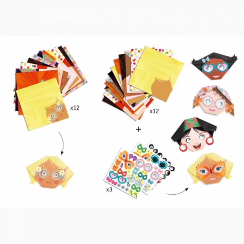 Pretty Faces Origami Craft Set By Djeco 4+