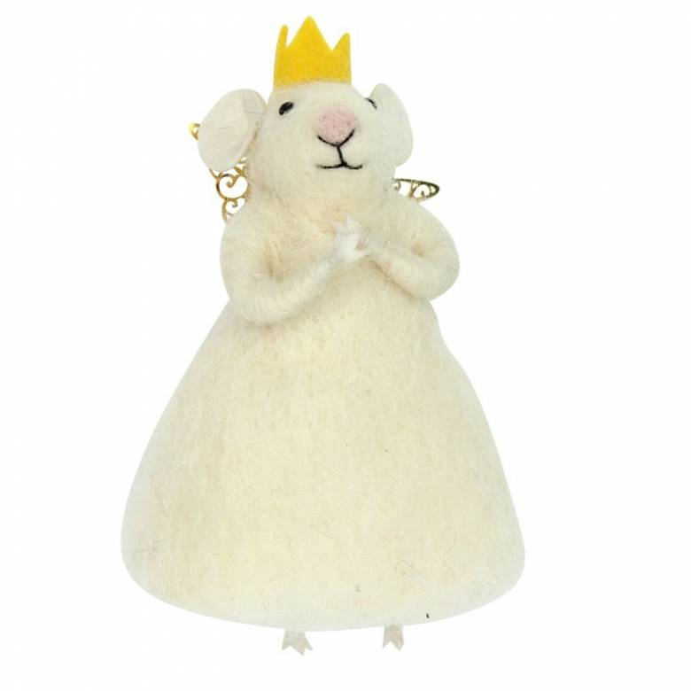Princess Mouse With Crown And Wings Wool Christmas Decoration