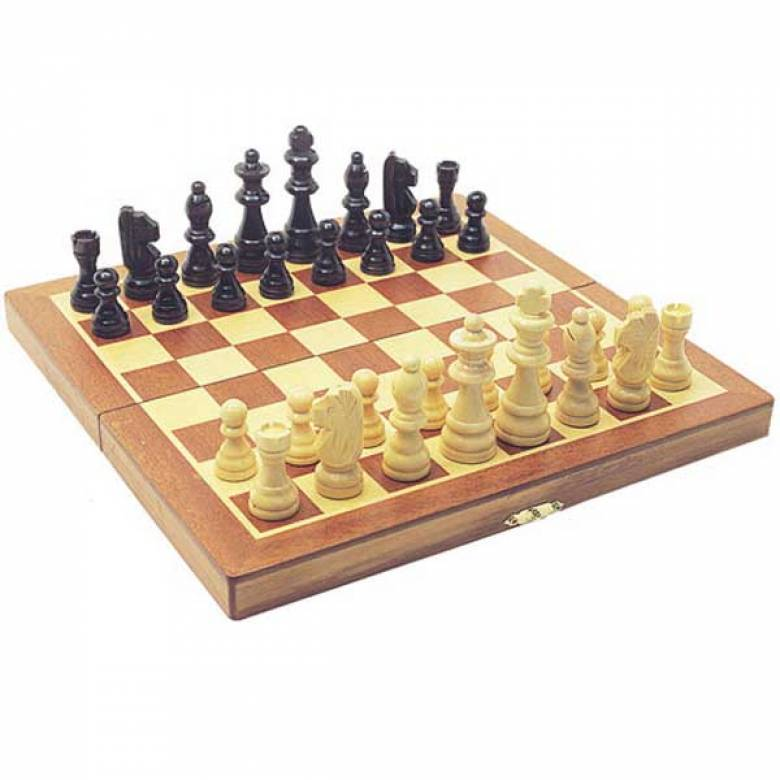 Chess Set Folding Wooden Board-Box which holds pieces