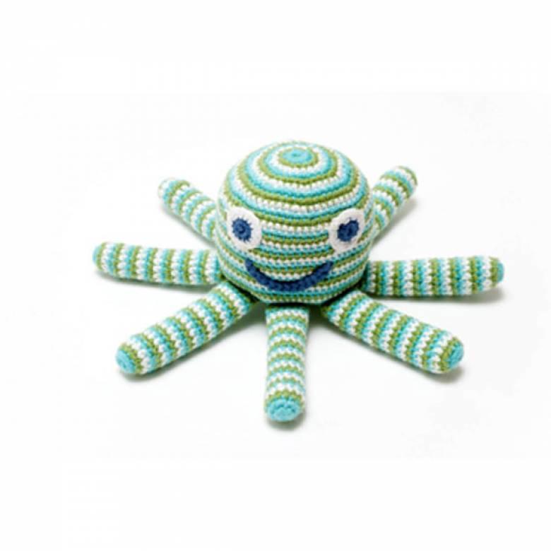 Fairtrade Crochet Knit Octopus Rattle Pink/Green