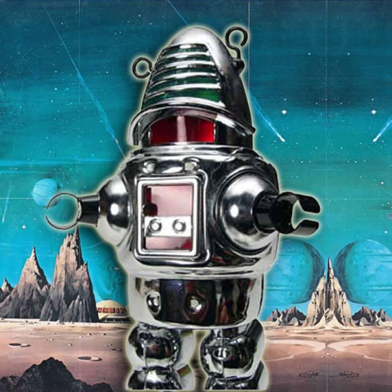 Planet Robot Tin Toy In Chrome