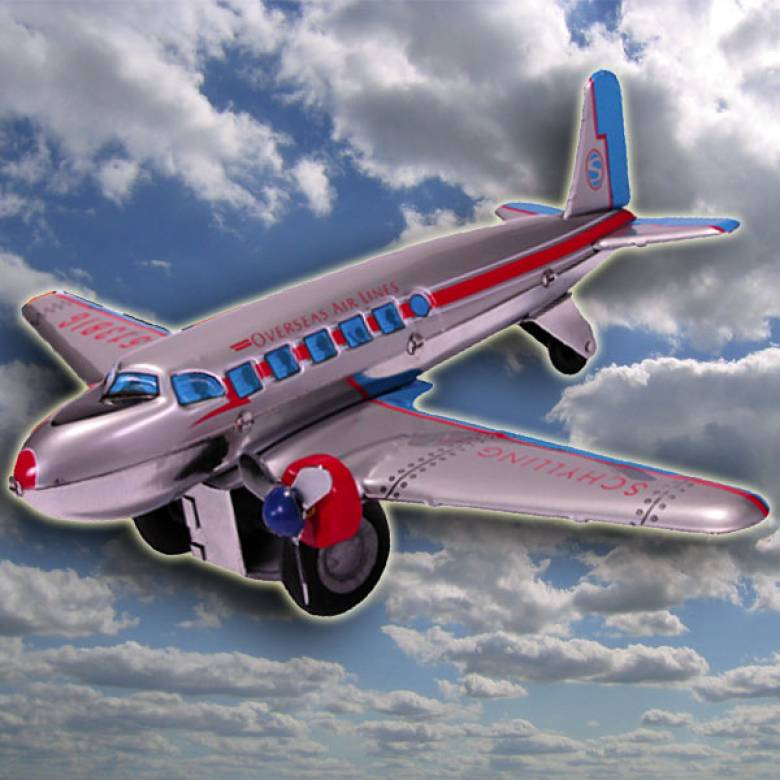 DC3 Friction Plane Tin Toy