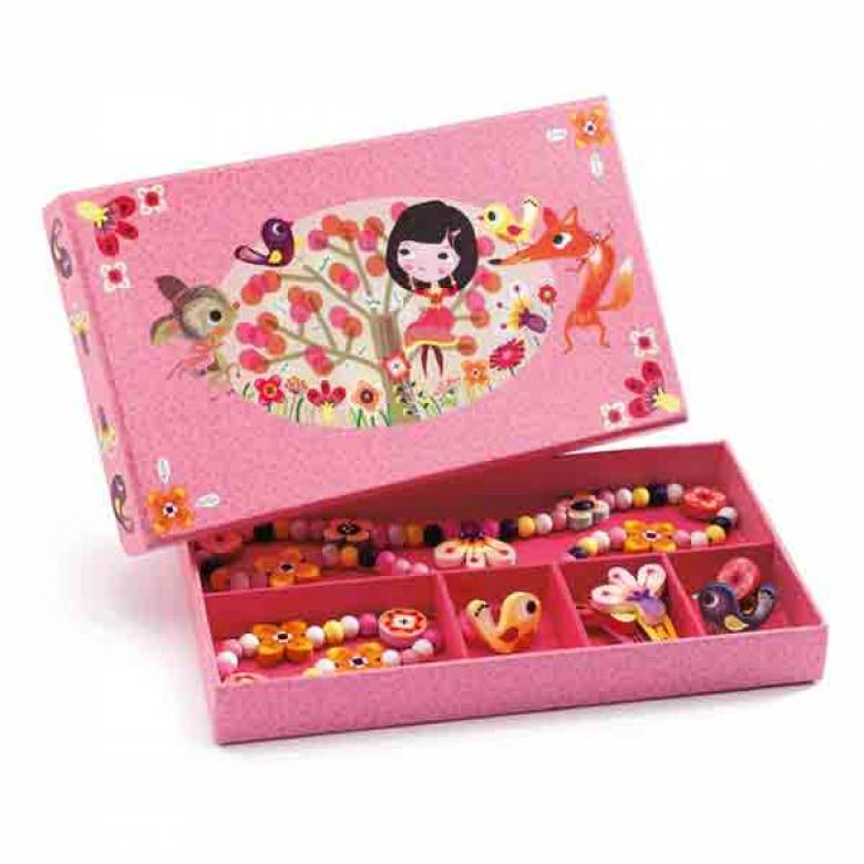 Pink Wood Flower Jewellery Set In Pretty Box 3yr+