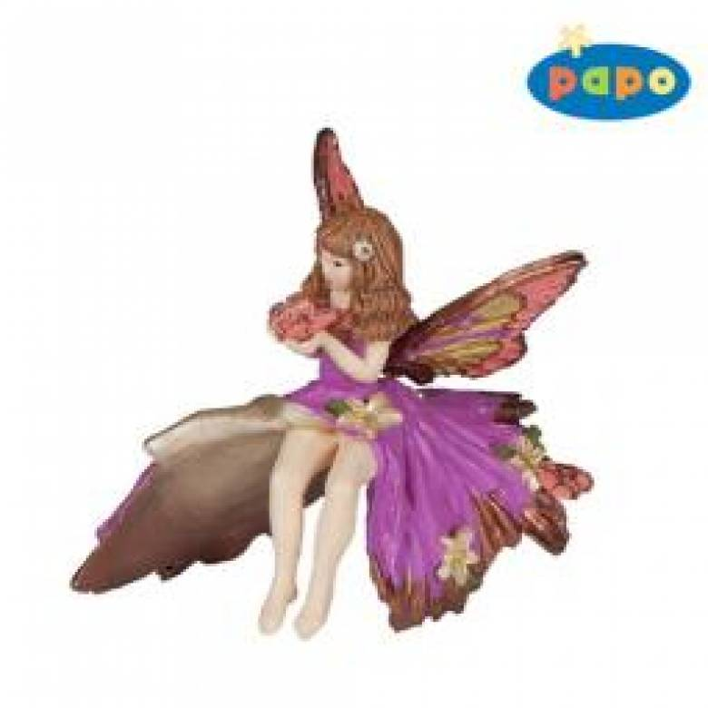 PAPO Pink Elf Child Fairy with butterfly, Fairy Figure.