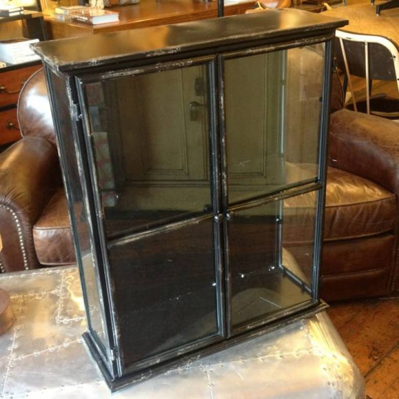 Small Black Glazed Metal Wall Cabinet With Glass 50x20x60cm