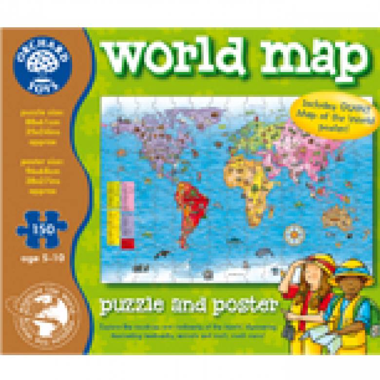 World Map Puzzle And Poster Orchard Toys 5+