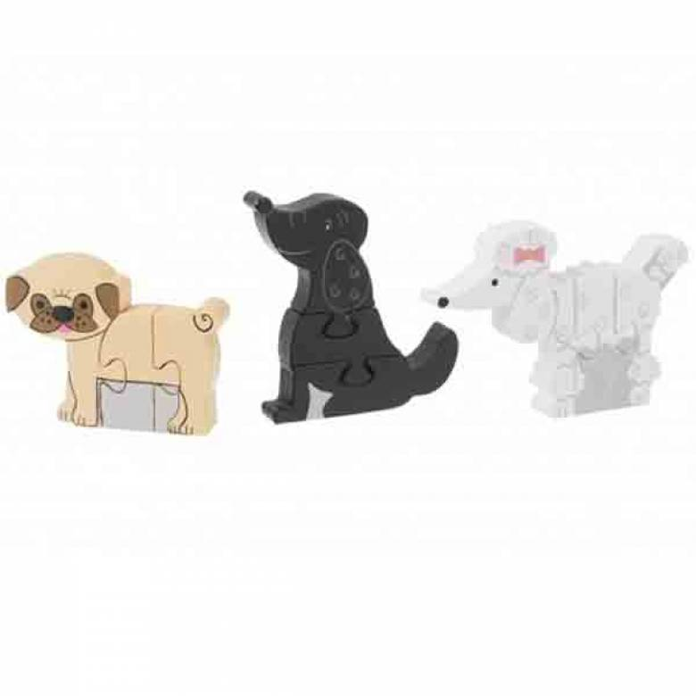 Puppy Dog Mini Puzzles - Set Of 3 Wooden Puzzles 1+