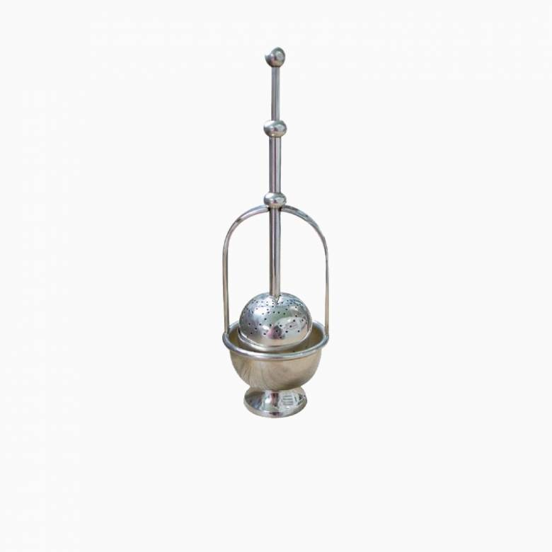 Push Down Tea Strainer On Stand In Antiqued Silver Finish