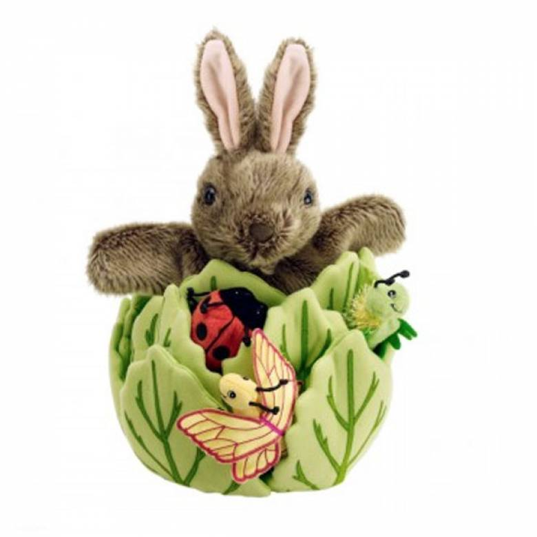 Hide Away Puppet Rabbit In Lettuce