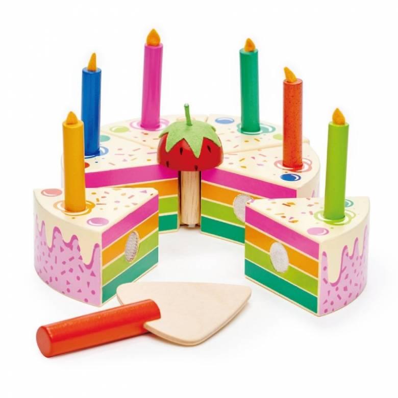 Rainbow Birthday Cake Wooden Play Food Set 3+