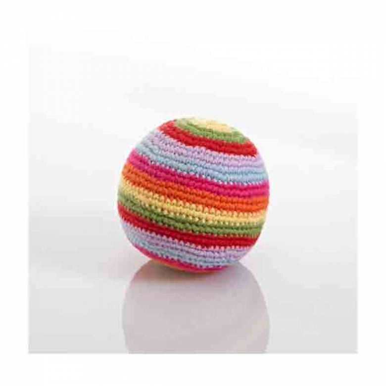 Striped Crochet Knit Ball Rattle Handmade 0yr+
