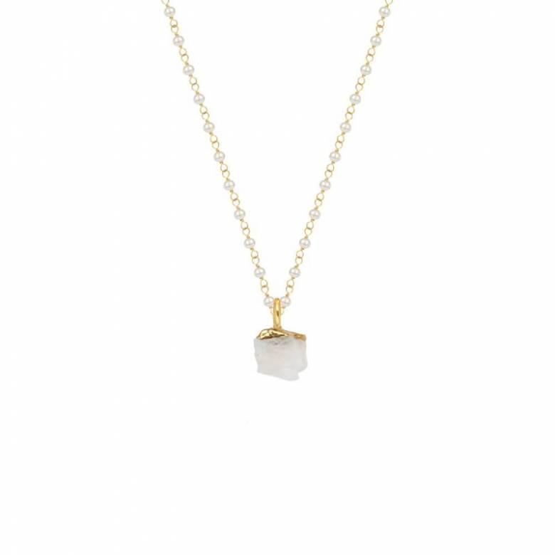 Raw Moonstone Pendant With Pearl Rosary Gold Chain