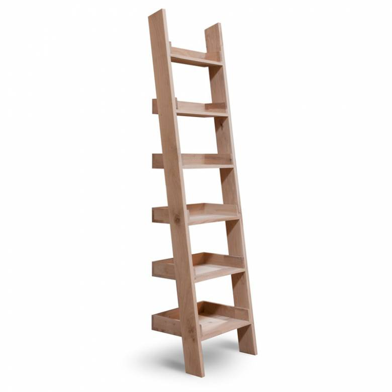 Raw Oak Ladder Shelving Narrow
