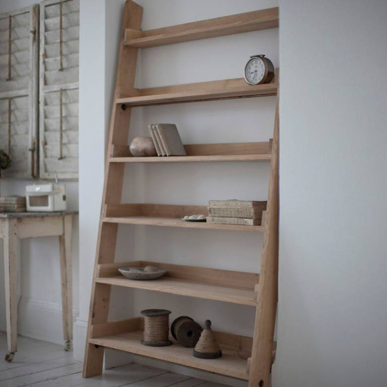 Raw Oak Ladder Shelving Wide