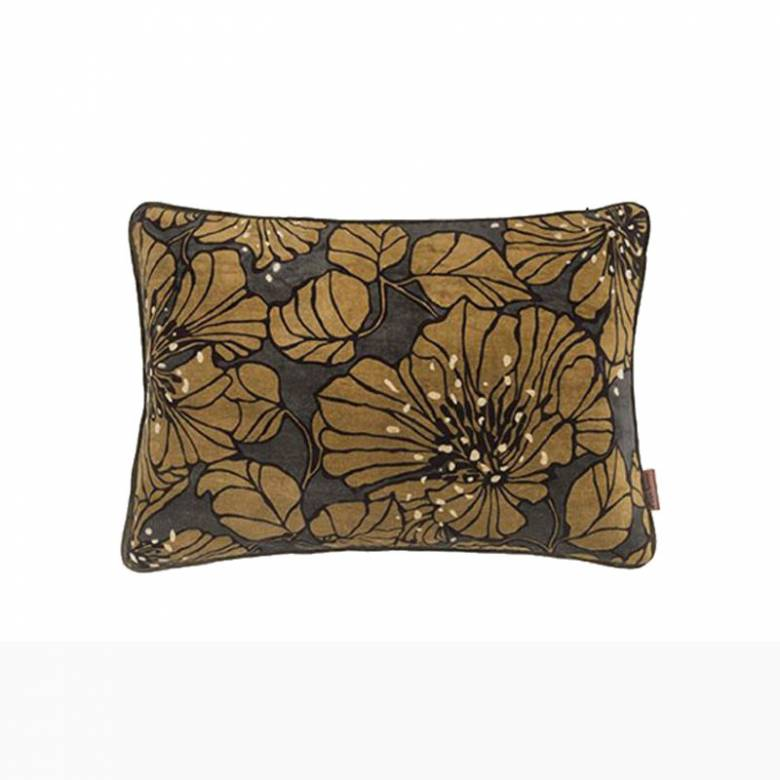 Rectangular Dahlia Velvet Cushion In Army