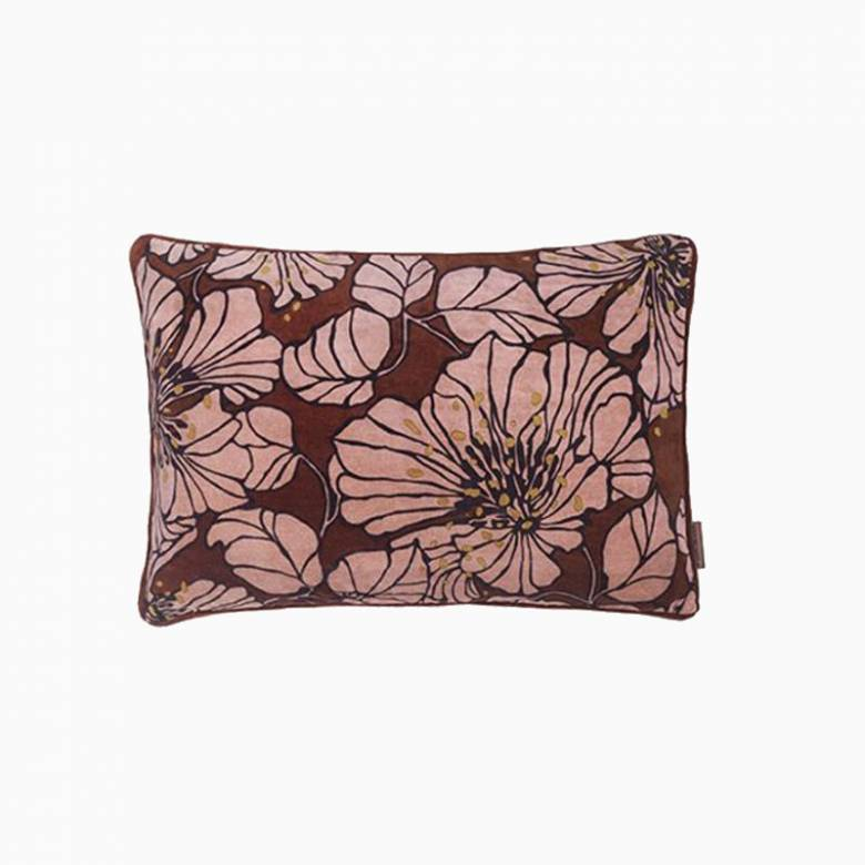 Rectangular Dahlia Velvet Cushion In Mahogany