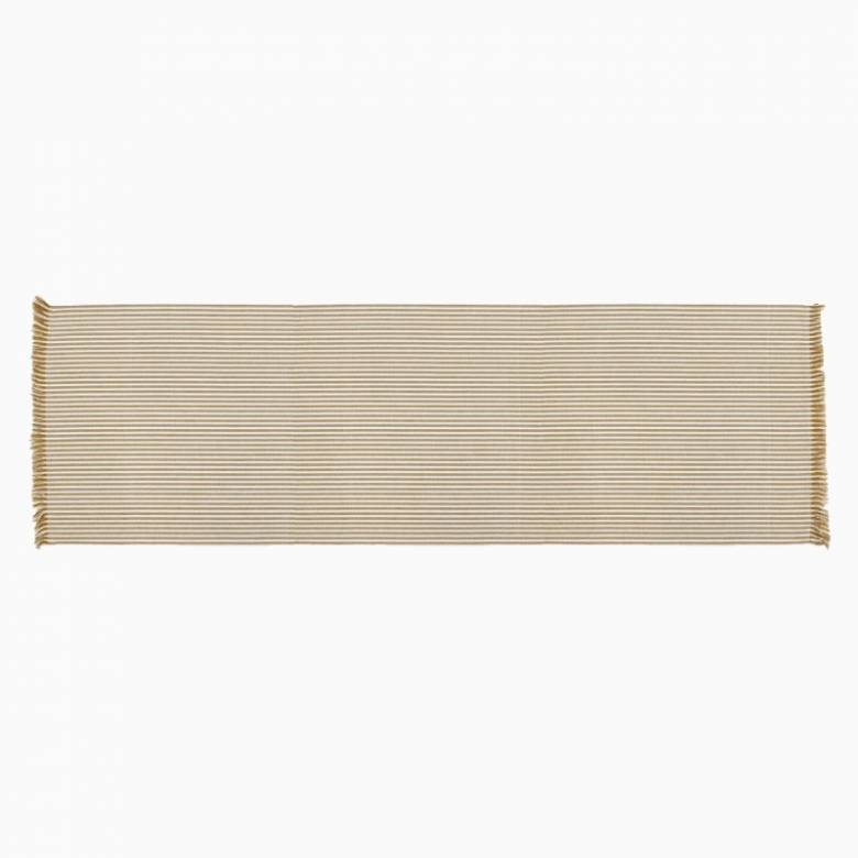 Recycled Cotton Striped Table Runner In Mustard