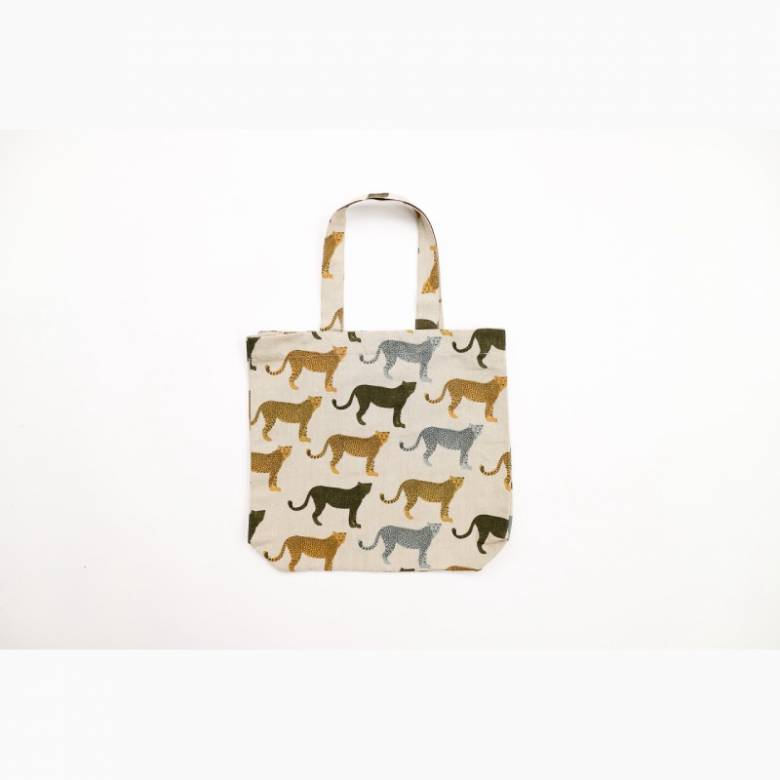 Recycled Cotton Tote Bag In Cheetah Print